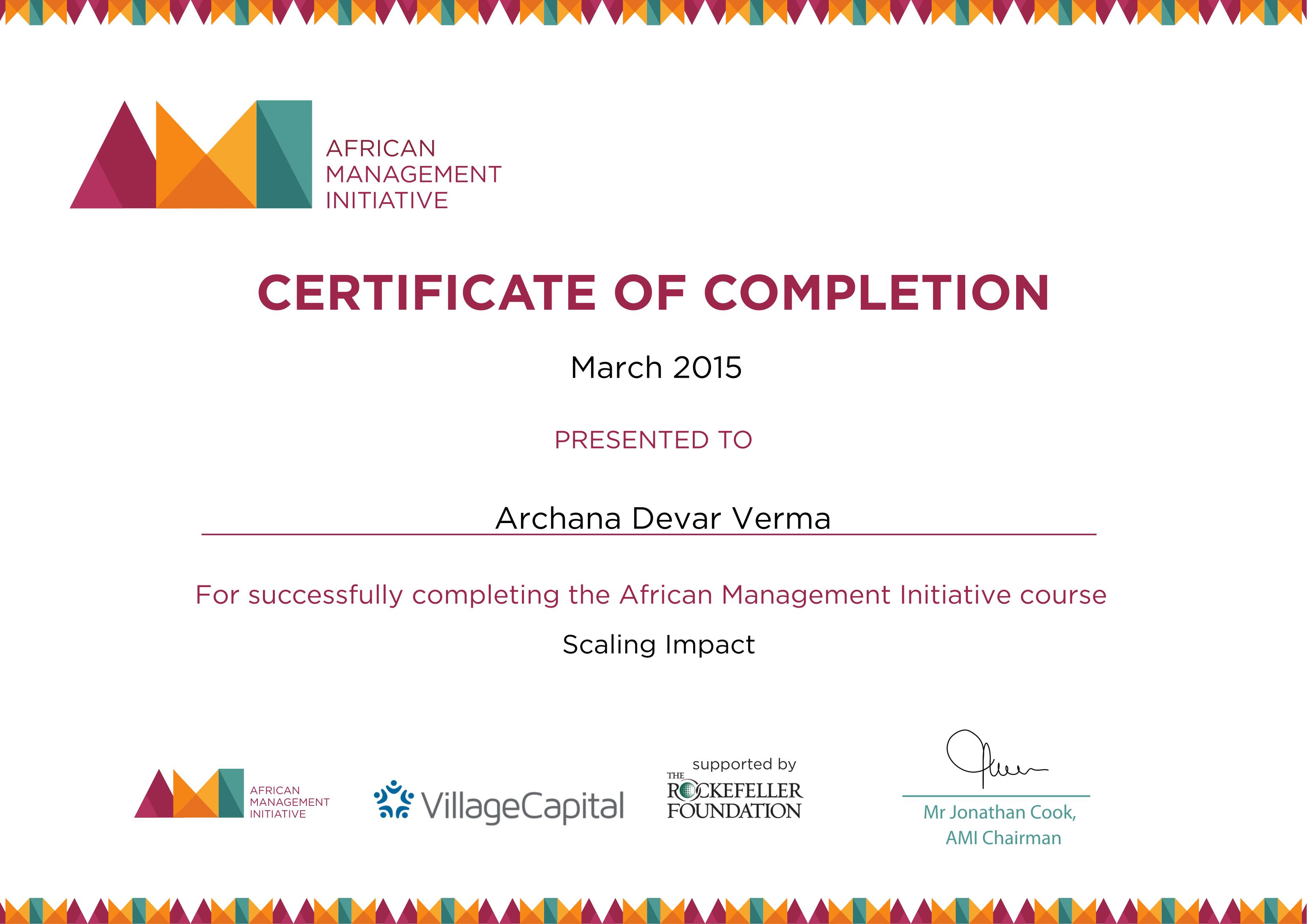 Scaling impact certificate sample 1